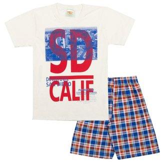 Conjunto Infantil Camiseta Calif e Bermuda em Sarja Xadrez Masculino 50f9bc6c740