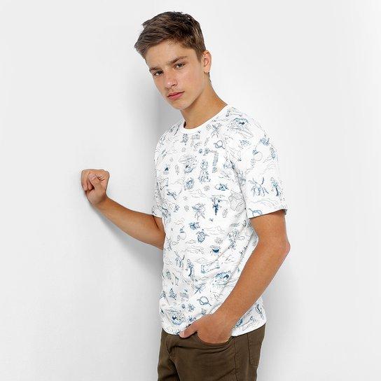 c3e1ff04f Camiseta Infantil Colcci Fun Aloha Masculina - Branco+Azul