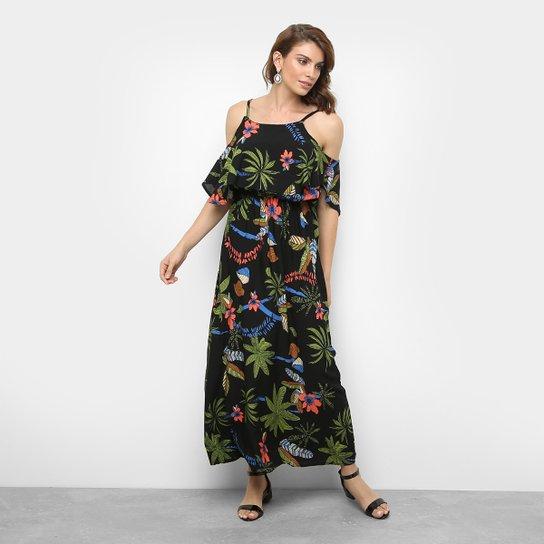 9982db39b Vestido JIN Evasê Longo Floral Sobreposição - Preto e verde - Compre ...