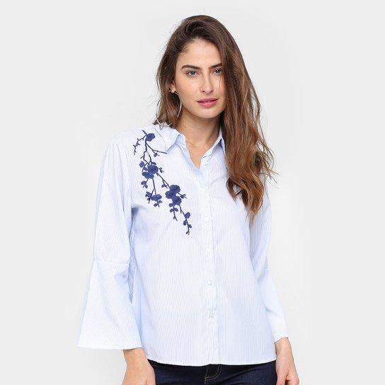 8c3032336 Camisa Facinelli Listrada Bordada Feminina - Branco e Azul - Compre ...