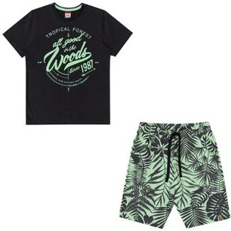 ee057100f3 Conjunto Infantil Camiseta e Bermuda Tropical Boca Grande Masculino