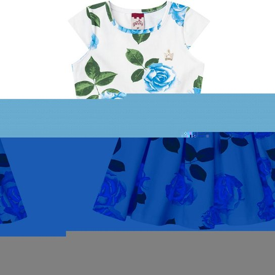 31a30fdc6aa Vestido Infantil Floral Boca Grande - Branco e Azul - Compre Agora ...