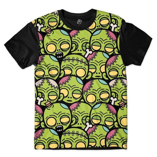 04f49af5a2161 Camiseta BSC Zombie Desenho Animado Sublimada Masculina - Preto+verde