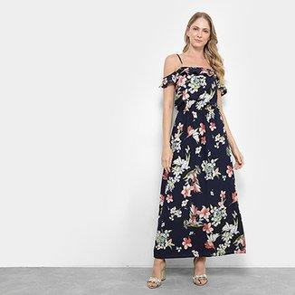 9ebbb9052 Vestido Pérola Open Shoulder Longo Floral