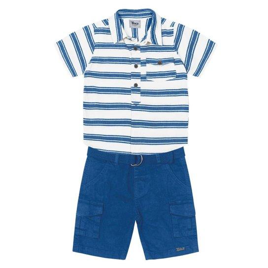 Conjunto Infantil Trick Nick Masculino - Branco e Azul - Compre ... f22fb6cc33ee6