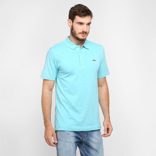 Camisa Polo Lacoste Super Light Masculina Azul Claro E Branco
