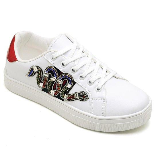 4e95e82bbee Kit Tênis Top Franca Shoes Cobra + Chinelo Top Franca Shoes Feminino -  Branco+Lilás