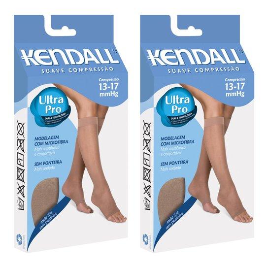 e63099232 Kit Com 2 Meia 3 4 Kendall Suave Compressão Sem Ponteira - Marrom+Branco