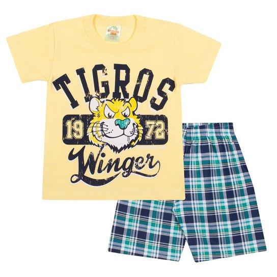 c347149ed3 Conjunto Infantil Camiseta Tigros e Bermuda em Sarja Xadrez Masculino -  Amarelo+Verde