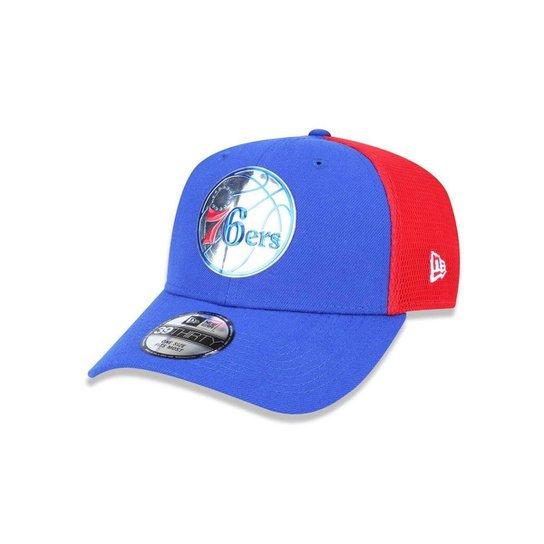 10cb24865 Bone 3930 New Era Philadelphia 76ers NBA Aba Curva - Azul Royal+Vermelho