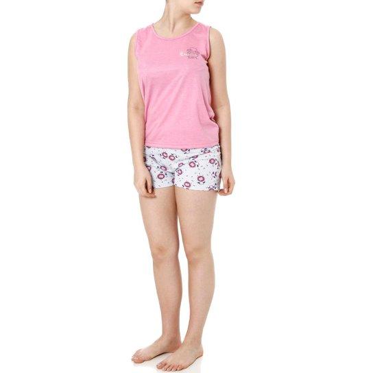 f8d7139fa9d80d Pijama Curto Izi Dreams Feminino - Rosa e Cinza