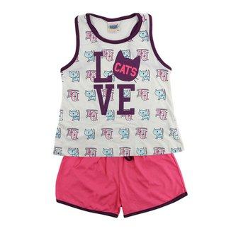 Pijama Duzizo Regata e Shorts Love de 4 à 8 Anos 80e463cd867