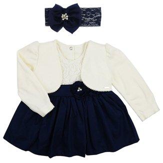 Vestido de Bebê Paraíso Moda Bebê Renda com Bolero de Plush e Faixa de  Cabelo 444e68770a4