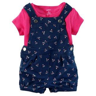 Conjunto Infantil Carter s Macacão mais Camiseta Feminina 3db957081fc