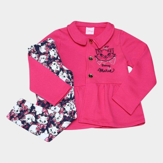 Conjunto Infantil Kamylus Marie Moletom Cotton Feminino - Pink+Marinho 8b35e48e0e693