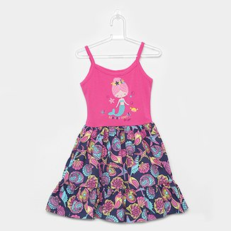 Vestido Infantil For Girl Curto Evasê Estampa Sereia Conchas b636978a1e