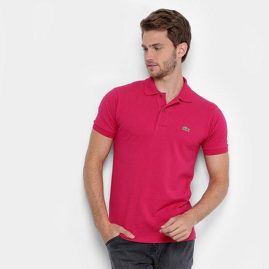 c40e7e4be66 Camisa Polo Lacoste Original Fit Masculina - Pink e Prata - Compre ...