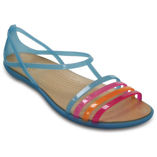 61f6d9c0bfb65 Sandália Crocs Isabella Sandal W Carnation Feminina - Azul Royal e ...