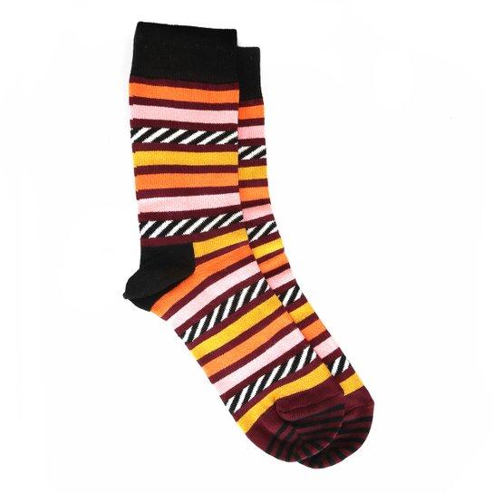 700ad8772 Meia 3 4 Happy Socks Cano Alto Argyle Sock - Preto e Laranja ...