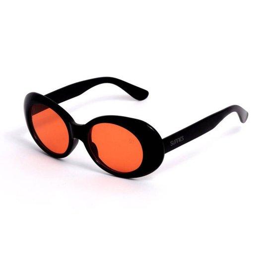 df8858c9a Óculos de Sol Oval - Preto e Laranja | Zattini