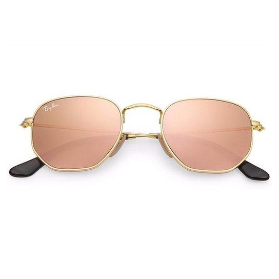 b7173ae83adba Óculos de Sol Ray Ban Hexagonal RB3548NL - Dourado e Bege - Compre ...