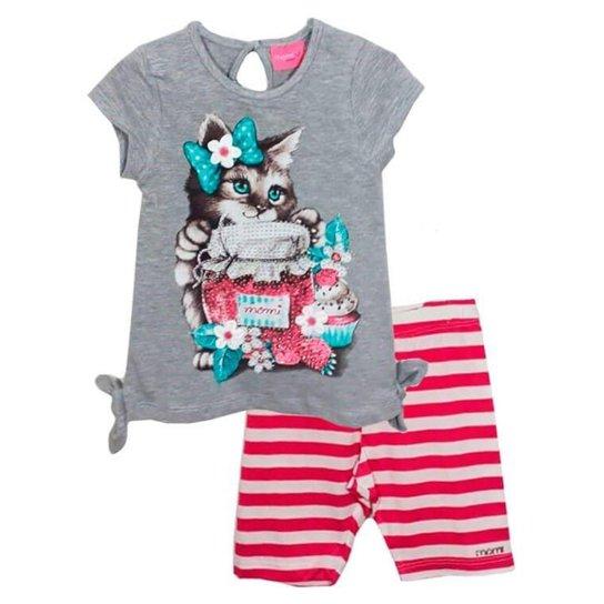 122979c007 Conjunto Infantil Momi Gatinha Blusa Com Leggin Listras Feminino -  Cinza+Rosa