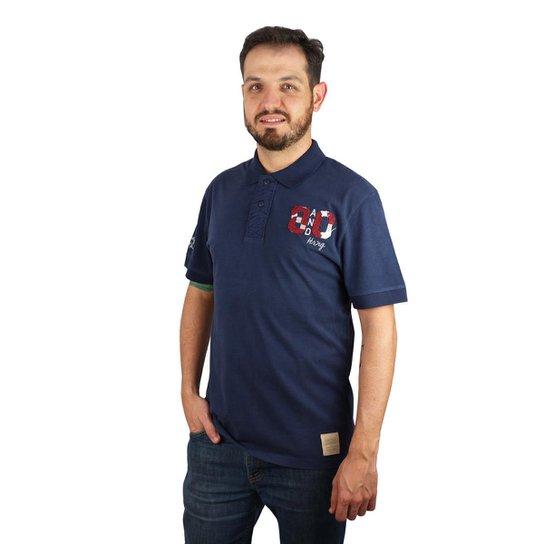 6b18ae1b76 Camiseta Hering Comfort Em Algodão Com Bordado Masculina - Azul+Marinho