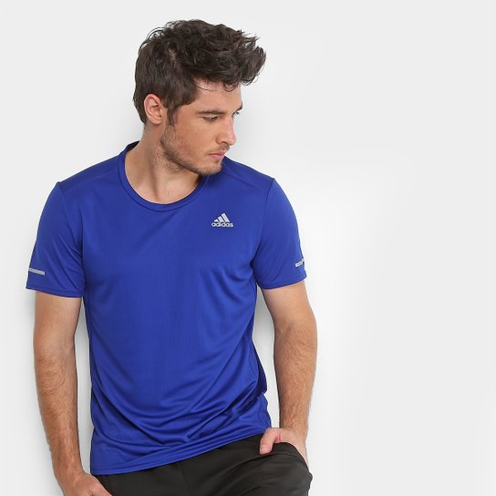 95b439d8ccdad Camiseta Adidas Run Masculina - Azul e Marinho - Compre Agora