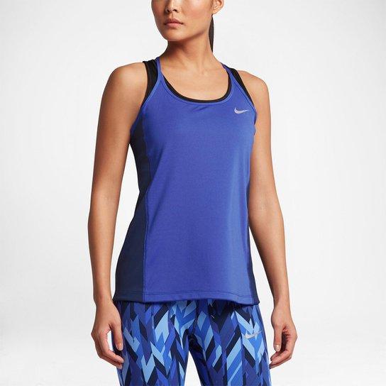 16e6b6fc8ff0d Regata Nike Dri-Fit Miler Feminina - Azul e Marinho - Compre Agora ...