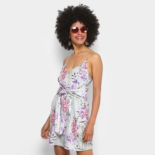 41770ccb5 Vestido Colcci Evasê Curto Floral - Cinza e Rosa | Zattini