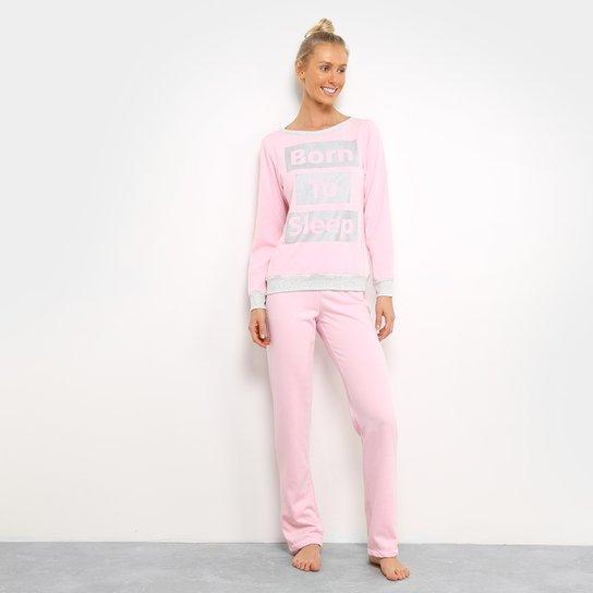 56c9f7a4c Pijama SonnoVicci Moletinho Longo Feminino - Cinza e Rosa - Compre ...