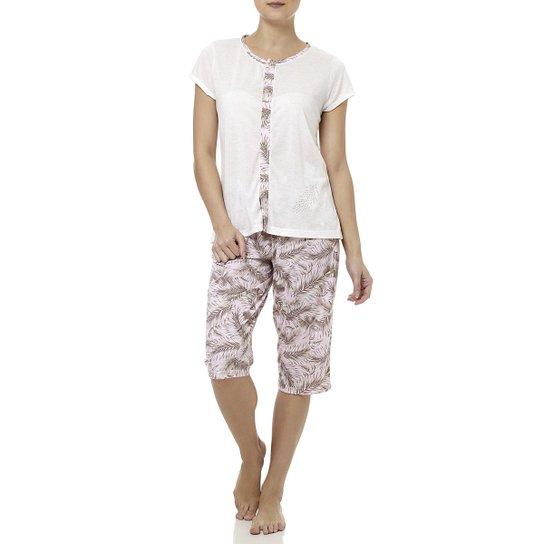 73440b93d5e270 Pijama Curto Feminino Cinza/rosa - Cinza e Rosa