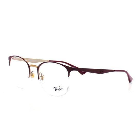 7e6ea24acc603 Armação De Óculos De Grau Ray Ban Metal Round 6422 T 51 C 3007 - Vermelho