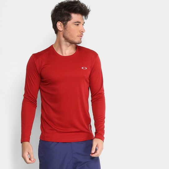 Camiseta Oakley Daily Sport 2.0 Manga Longa Masculina - Vermelho Escuro 05f4094005e