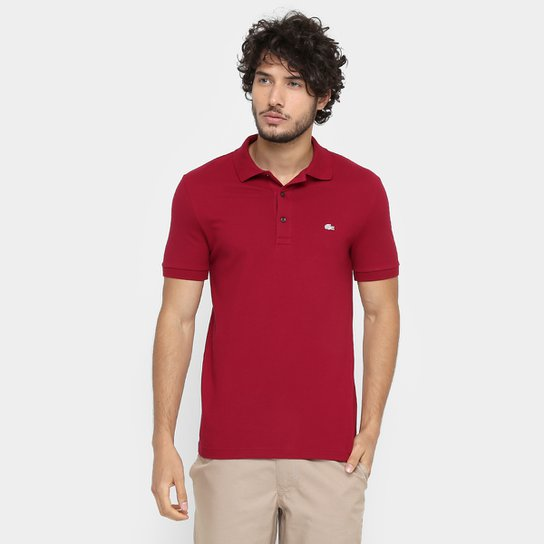 3616dce61dc5d Camisa Polo Lacoste Piquet Slim Masculina - Vermelho Escuro - Compre ...