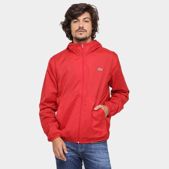 35898561372 Jaqueta Lacoste Nylon Capuz - Vermelho Escuro