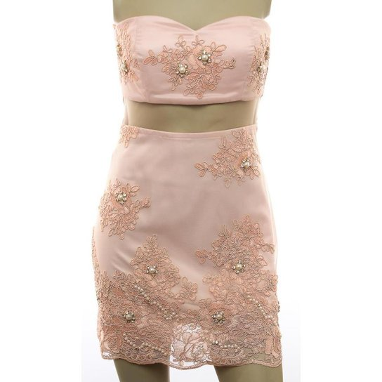 c2c1d8299e0239 Vestido Renda Flores Bordado Inquerito - Rose Gold