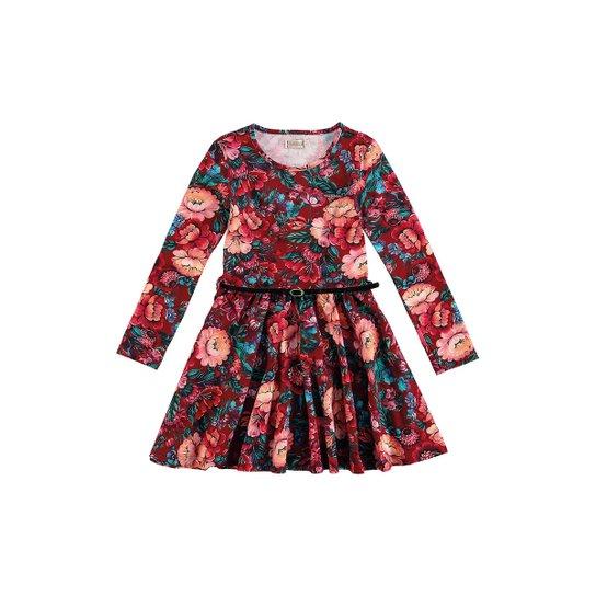 9458e700a0 Vestido Floral Infantil Carinhoso Malwee - Vermelho Escuro