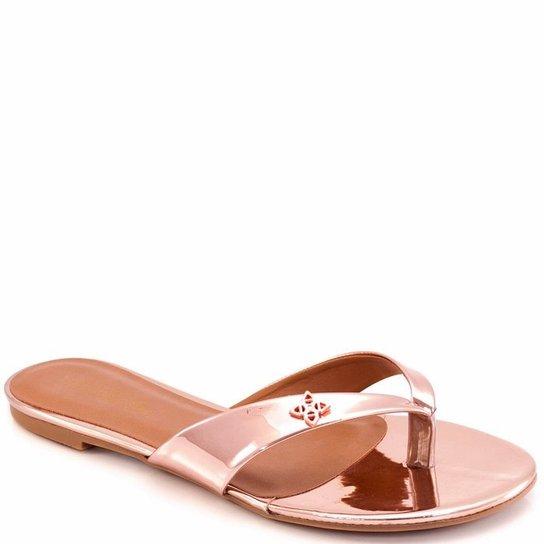 aa018e296 Rasteira Flat Sapato Show 04318 - Rose Gold - Compre Agora