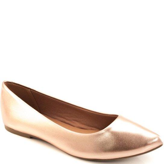 0d7870f49 Sapatilha Metalizada Bico Fino Sapato Show Feminina - Rose Gold ...