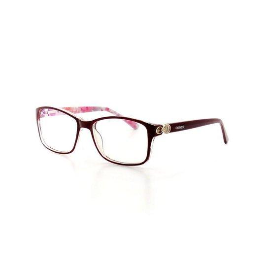 c7d23e890a9ba Armação De Óculos De Grau Cannes 2275 T 52 C 6 Feminino - Vermelho Escuro