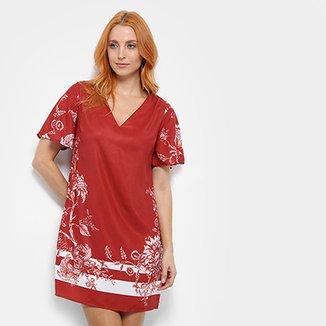 0733b5f94 Vestido Dimy Floral Decote Costas
