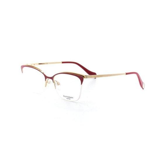 88e6e9677f9a7 Armação De Óculos De Grau Ana Hickmann 1354 T 52 C 07A Metal - Vermelho  Escuro