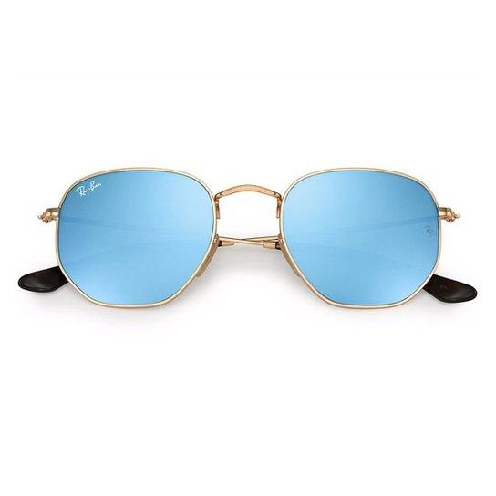 Óculos de Sol Ray Ban Hexagonal RB3548NL - Dourado e Azul - Compre ... 311f81276a