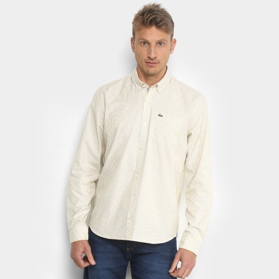 022cbee47ca Camisa Lacoste Manga Longa Masculina - Amarelo e Branco - Compre ...