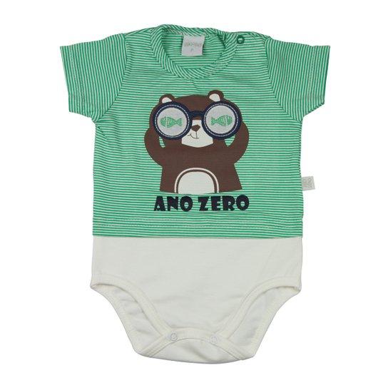 093df10ae Body Infantil Malha Listrada Catalina e Cotton Castor com Óculos Ano Zero  Masculino - Verde+