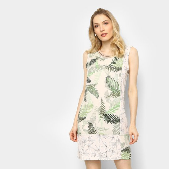 addb5ff7d Vestido Colcci Curto Reto Estampado - Verde+Branco
