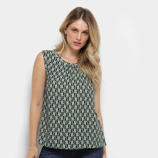 fcaddeffb Blusa Colcci Estampada Feminina - Verde e Branco - Compre Agora ...