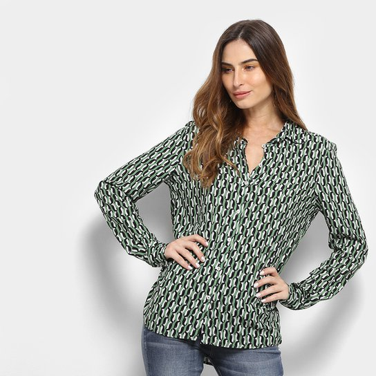 91407d3d9 Camisa Colcci Manga Longa Estampada Feminina - Verde e Branco | Zattini