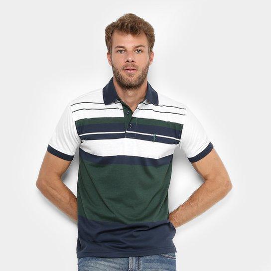 Camisa Polo Aleatory Malha Fio Tinto Listras Masculina - Verde+Branco c4a3c749e8dca